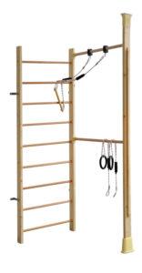 Kletterdschungel Holz Sprossenwand Indoor Sportgerät mit Reck und Schaukel